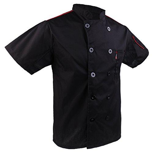 Baoblaze Kurzarm Kochjacke Bäckerjacke Chef Mantel Jacke Restaurant Koch Uniform Kochmantel - Schwarz, 3XL - 2