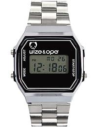 Wize & Ope 1970-2 - Reloj digital de cuarzo unisex, correa de otros materiales color plateado