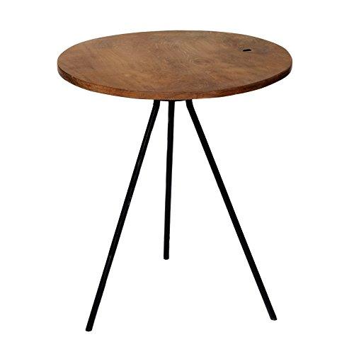 Table d'appoint Design Table Basse Table Bois de Teck Fer Bois Teck Marron Ronde Vintage métal Massif Inoxydable BRIL librum Flyer, Bois/métal, Marron, Beistelltisch - Fast rund/rund
