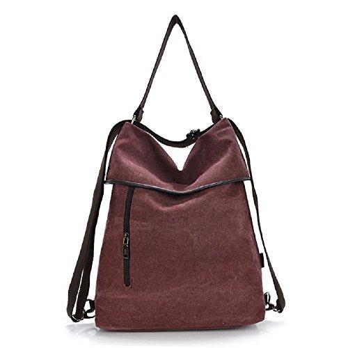 MoliMode Damen Rucksack Canvas Schultertasche Handtasche Damen Multifunktionsbeutel für Arbeit Schule und Lässige täglich Braun