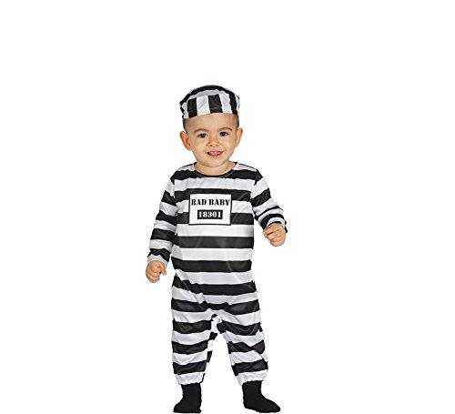 Generique - Sträflings-Kostüm für Babys Strampler-Anzug Weiss-schwarz 92 (1-2 Jahre) (Schwarz Baby Kostüm)