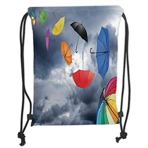 Fashion Printed Drawstring Backpacks Bags,Apartment Decor,Parasols on Foreground of Dark Cumulus Rain Clouds Windy Stormy Day Shield Image,Multi Soft Satin,5 Liter Capacity,Adjustable String Closu -