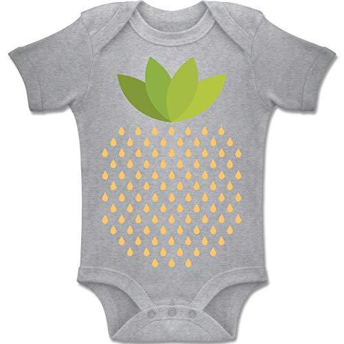 Kostüm Baby Strawberry - Shirtracer Karneval und Fasching Baby - Erdbeeren Kostüm - 6-12 Monate - Grau meliert - BZ10 - Baby Body Kurzarm Jungen Mädchen