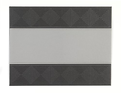 Indulje HY283276 Luxury Embossed Mosaic Placemats, 28 x 22cm, Faux Leather, Charcoal, Set of 4