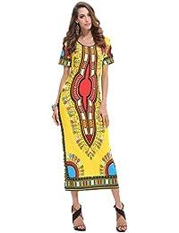 YALI Vestido Estampado De Indonesia,Amarillo,L