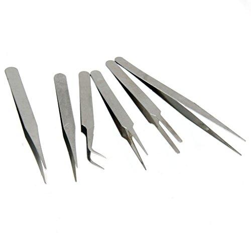 MagiDeal 6Stück Edelstahl Pro Antistatische Pinzette Futterpinzette Werkzeug Set