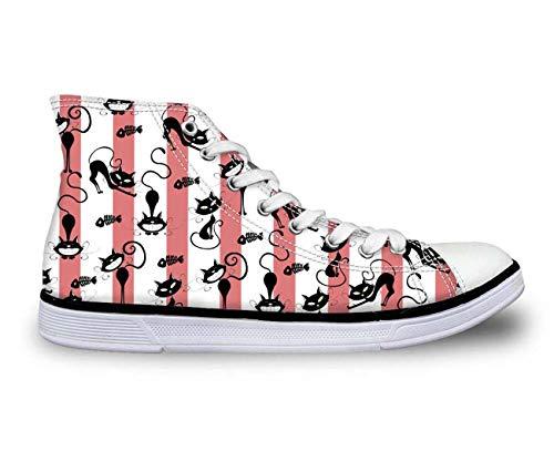 i Tops Plimsolls Women Girls Canvas Sneakers Flat Designs Halloween with pink UK 2 ()