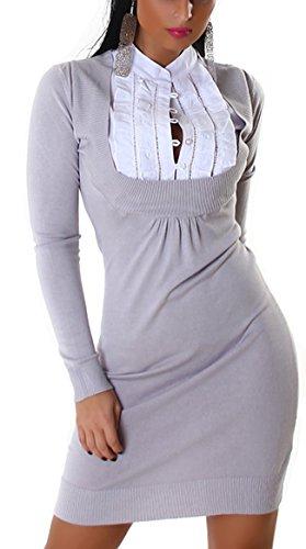 Jela London Damen Strickkleid mit eingenähtem Bluseneinsatz (Einheitsgröße 34 36 38) Grey