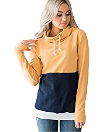 Sudadera Cuello Alto Mujer Deportiva T-Shirt Manga Larga Pullover Invierno  Otoño Patchwork Blusa Color Block Camiseta Rayas Tunicas… c9952b4794f