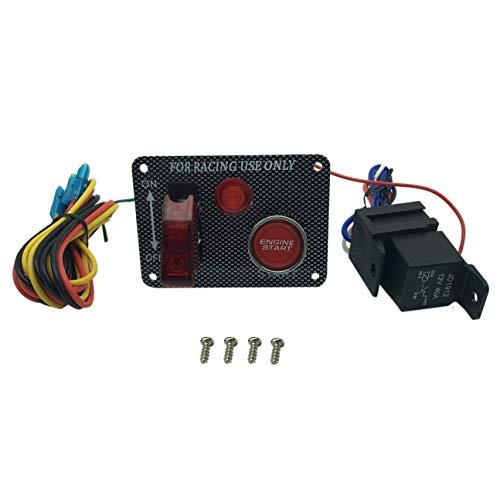 Panneau d'interrupteur d'alimentation multifonctions de qualité Allumage bouton de démarrage Kit d'avions bouton poussoir rouge pour voiture de course (couleur: grain de fibre de carbone)