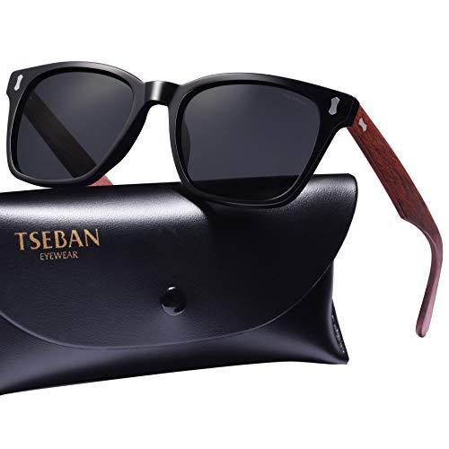 TSEBAN Retro Polarisierte Damen Sonnenbrille Herren Sonnenbrille 100% UV400 Schutz Fahrer Brille Acetat Rahmen (Herren, Herren & Rahmen: Holz; Linsen: Schwarz - 1)