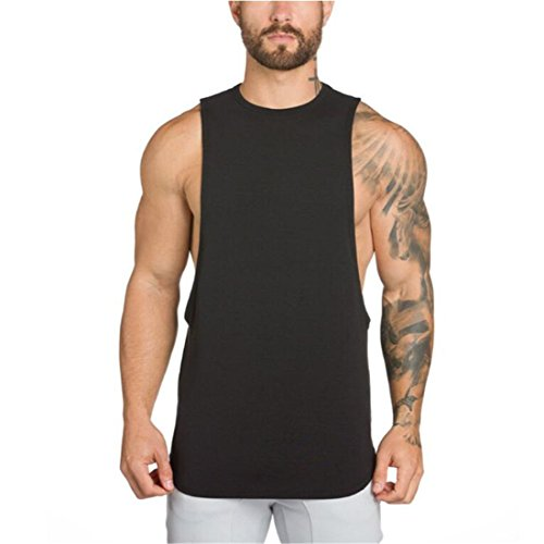 YeeHoo Herren Fitnessstudio Trägershirt Cut Off Tank Top Bodybuilding Stringer Unterhemd Muskel Gym saugfähige Weste Baumwolle