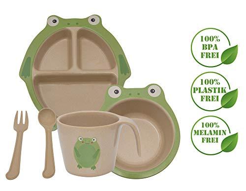 Green World Production Kindergeschirr Set 6-teilig aus Reishülse ohne Melamin besteht aus Teller Schale Löffel Gabel Tasse und Saugnapf Spühlmaschienengeeignet Mikrowellengeeignet (Fröschchen)