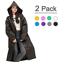 Waterproof Raincoat - Portable,  Reusable  ,Emergency EVA Rain Ponchos with Hoods and Sleeves 100% Waterproof,2  PACK for Adults&Children -Best for Camping, Hiking, Outdoor, Disney