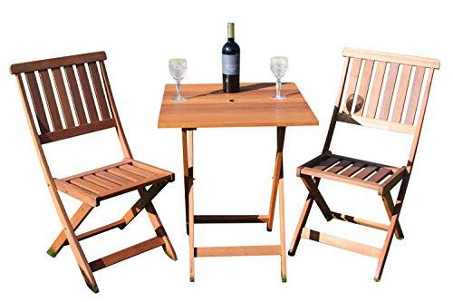 Ensemble bistro de jardin en bois massif, de grande qualité, avec table carrée et 2 chaises pliantes