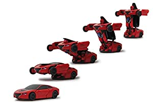 Jamara- Robibot Die Cast 1/32 transformable, Color Rojo (410045)