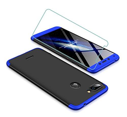 Joytag Funda Xiaomi Redmi 6 360 Grados Azul Negro Ultra Delgado Todo Incluido Caja del teléfono de la protección 3 en 1 Case+Protectora de película de Vidrio Templado Azul Negro