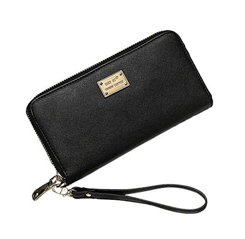 Rcool Lady Damen Ledertasche Clutch Wallet kleiner Beutel-Kartenhalter (Schwarz) (Schwarz Prada Wallet)