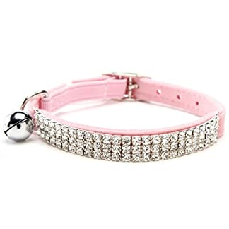 PUPTECK BA3007 Soft Velvet Safe Cat Adjustable Collar Bling Diamante With Bells Black 1