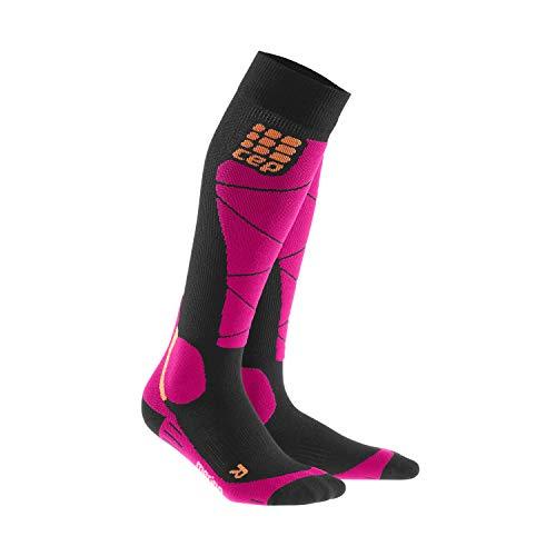 CEP – SKI MERINO SOCKS, Skisocken in schwarz / pink, Größe III für Damen, Kompressionsstrümpfe made by medi