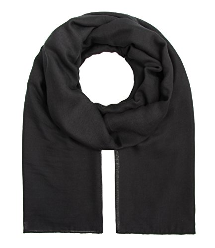 Damen langer Schal Einfarbig Uni Tücher leicht Sommer schwarz