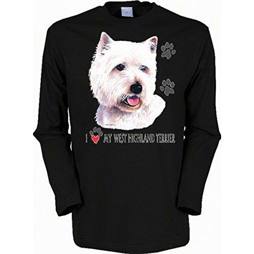 Langarm-Shirt mit Hunde Motiv geil bedruckt / West Highland Terrier ! Schwarz