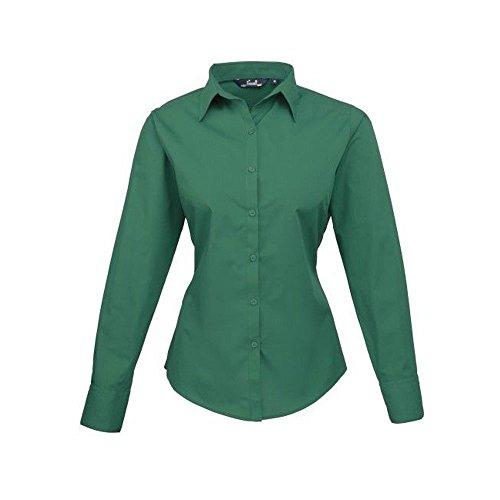 Premier Workwear Damen Bluse Ladies Poplin Long Sleeve Blouse Grün - Smaragdgrün
