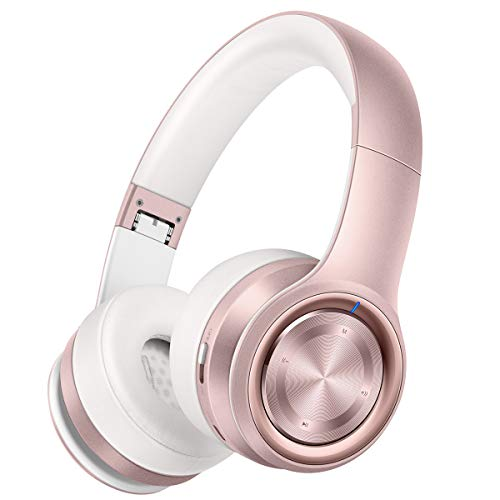 Picun Bluetooth Kopfhörer Over-Ear, 30 Stunden Spielzeit, Kopfhörer Bloothooth Kabellos mit Mikrofon, TF Karte Modus, 3,5mm Audio AUX, Faltbares für Handy/TV/Tablets/PC (Rose Gold) Rosa Bluetooth