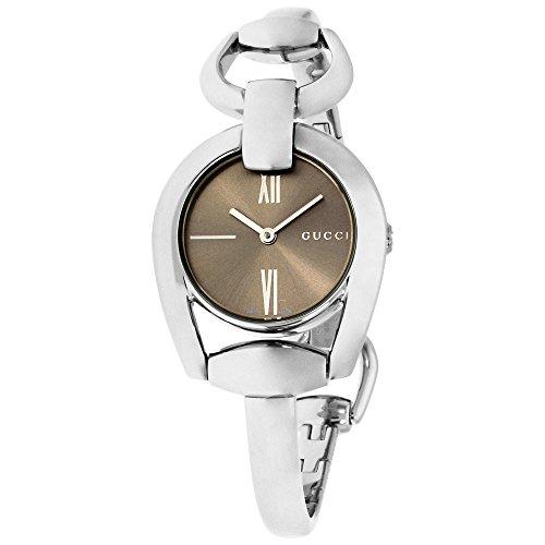 Gucci Horesebit cuarzo reloj YA139501 de las mujeres Marrón