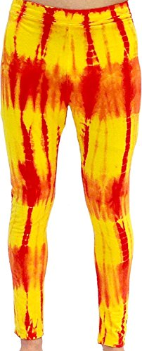 Red and Yellow Tie-Dye Wrestling Legging Tights Pants (Adult XXX-Large) (Tie Red Dye)