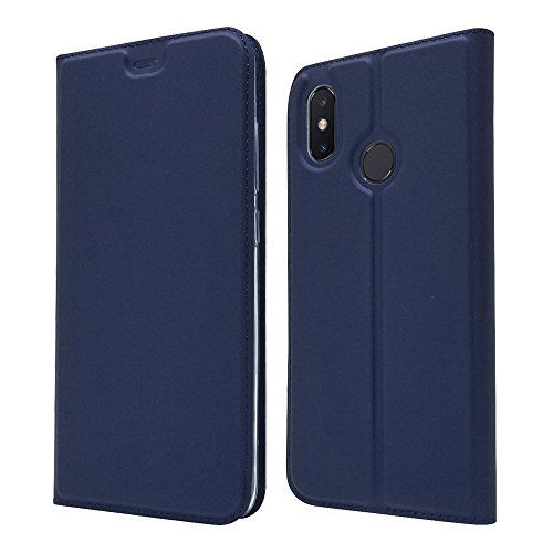 LAGUI Funda Adecuado para Xiaomi Mi 8, Ultrafina Carcasa Minimalista Tipo Libro con Tapa Imantada y Ranura para Tarjeta y Soporte Horizontal, Azul
