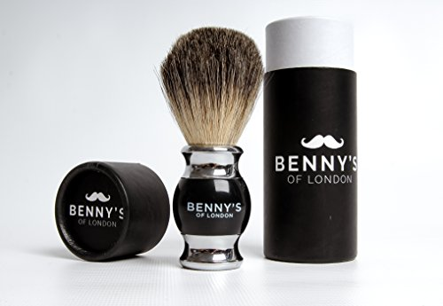 Shaving Brush - SALE NOW ON - Benny's of London - BADGER HAIR SHAVE BRUSH - LUXURY CHRISTMAS GIFT for your MENS GROOMING SET - ensures the BEST SHAVE for HOME or TRAVEL, made from 100% PURE BADGER HAIR BRISTLES, with a high QUALITY metal handle to deliver the most LUXURIOUS shave LATHER from Your SHAVING CREAM or SOAP - must have MEN'S GROOMING PRESENT