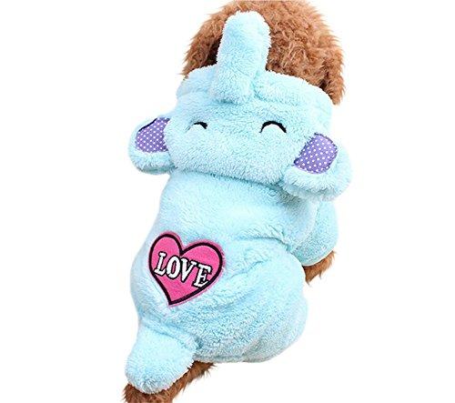 YARBAR cuore di amore di corallo cachemire Pet Costume Elefante Turned Outfit Dog Suit Abbigliamento Teddy con cappuccio Apperal Blue Coat