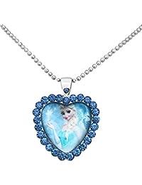 Película joyas princesa Elsa Retrato cristal Cobochon colgante collar con tono de plata collar