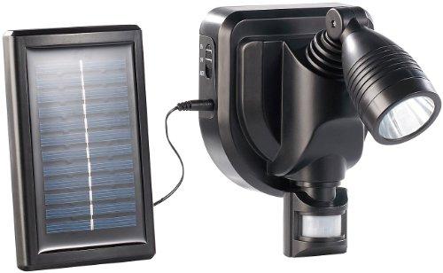 Lunartec LED Solarleuchte: Solar Außen Wand-Strahler CREE LEDs, 3 Watt, Bewegungsmelder, schwarz (Solar-Wand-Außenleuchte)