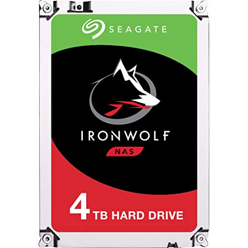 Seagate IronWolf 4 TB HDD, NAS interne Festplatte (8,9 cm (3,5 Zoll), 5900 U/Min, 64 MB Cache, SATA 6 GB/s, silber) Modellnr.: ST4000VN008