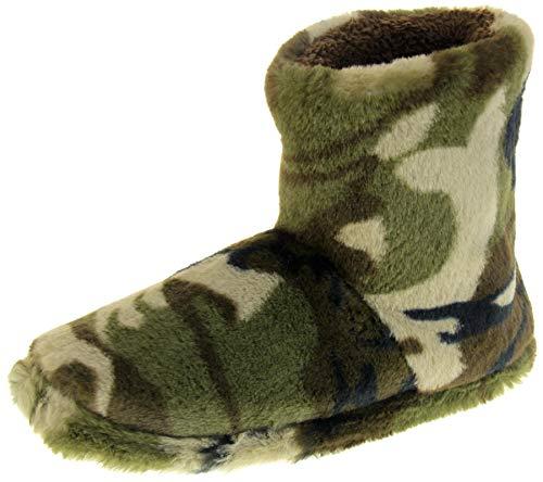 Dunlop Hombre Verde Camuflaje Faux Fur Slipper Boots EU 42/43