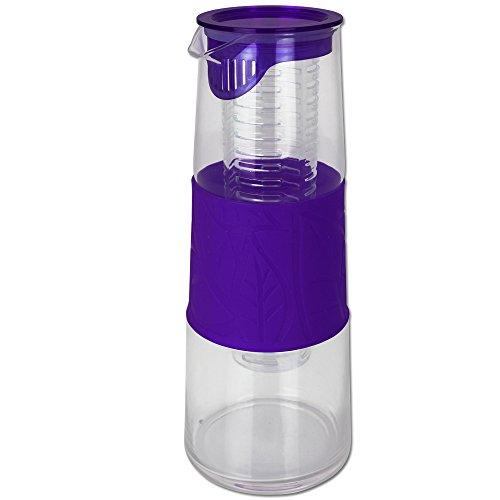 TW24 Glaskaraffe 1L mit Farbauswahl - Teekanne - Wasserkaraffe - Wasserkrug (Lila)