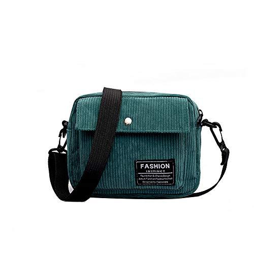 Sunnywill Damen Rucksäcke Handtaschen Schultertaschen Canvas einzelne Schulter Umhängetasche kleine quadratische Tasche Cord Tasche - Tan Leder-clutch