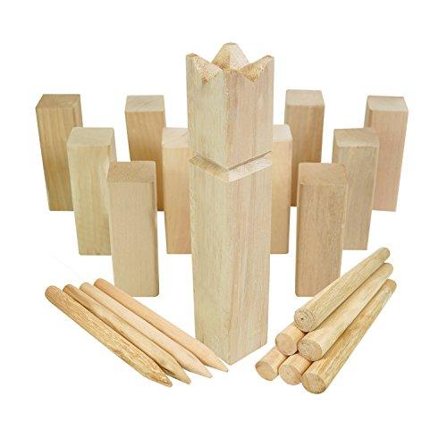 Moorland KUBB Wikinger-Spiel Knut Schweden-Schach Outdoor Spiel für bis zu 12 Personen - massives Holz inkl Tasche -