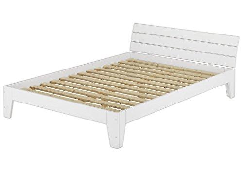 Erst-Holz® Doppelbett mit Rollrost 140x200 Futonbett Bettgestell Holzbett Massivholz Kiefer Weiß 60.54-14 W