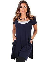 KRISP® Femmes Robe Tunique 2 en 1 Froncée