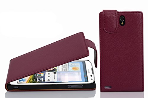 Cadorabo Hülle für Huawei ASCEND G610 - Hülle in BORDEAUX LILA – Handyhülle aus strukturiertem Kunstleder im Flip Design - Case Cover Schutzhülle Etui Tasche