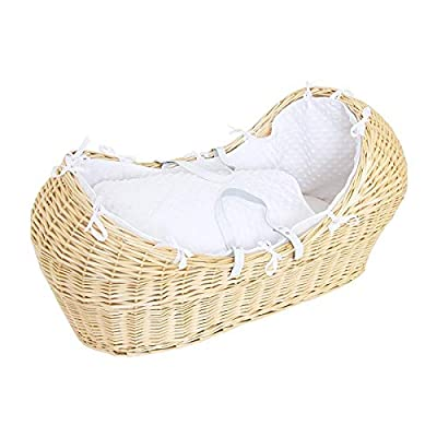 Luxury British Made Noah Pod Izzy Pod Apples and Pears Moses Basket White Popcorn Bedding. (Basket is NOT Included)
