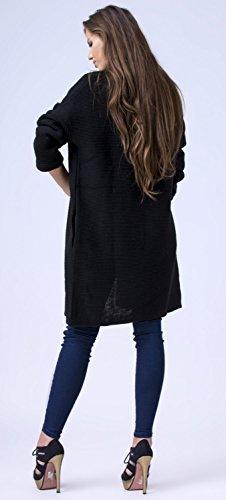 Glamour Empire. Femme Cardigan en Maille Gilet Veste Cascade Effet Drapé. 976 Noir
