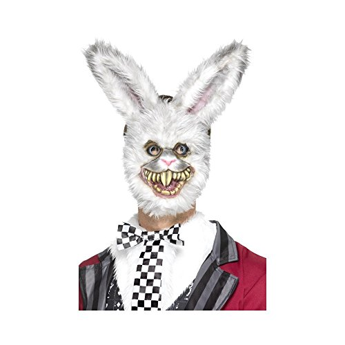 er Hase Maske mit Fell, One Size, Grau, 46995 (White Rabbit Halloween-kostüme)