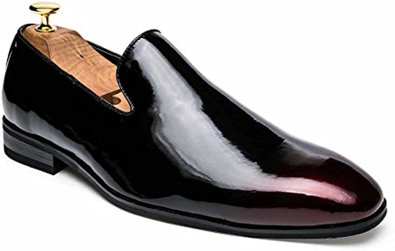 GLSHI Männer wies Oxford England Retro Slip auf Freizeitschuhe Mode Breathable Low Schuhe Business Lederschuhe