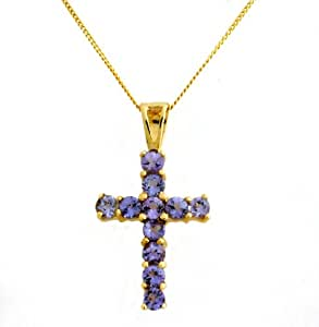 Ornami Glamour 9ct Yellow Gold Tanzanite Set Cross on 46cm Chain