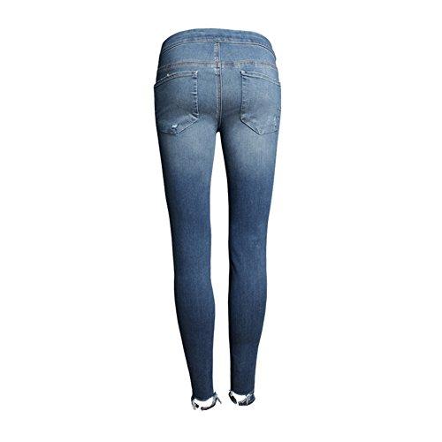 Blansdi Damen Mädchen Frauen Frühling Herbst strecken Taille Distressed Ripped Gewaschene BF Jeans Boyfriend Lose Denim dünn Lange Hose Loch Jeanshose Bleistift Jeans Blau