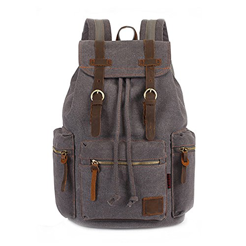 mens-vintage-casual-canvas-leather-backpack-rucksack-school-bag-satchel-camping-bag-gray